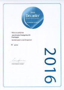 Decanter Commended - Champagne Jean Arnoult Prestige - 2016