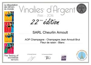 Vinalies d'Argent - Champagne Jean Arnoult Fleur de raisin - 2016