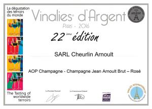 Vinalies d'Argent - Champagne Jean Arnoult Rosé - 2016