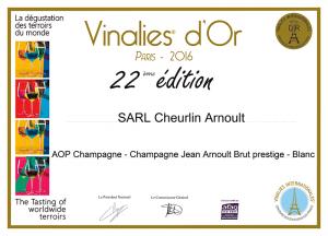Vinalies d'Or - Champagne Jean Arnoult Prestige - 2016